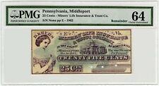 1862 Speciman Schuylkill Middleport Pennsylvania PMG 64 Twenty Five Cents Note