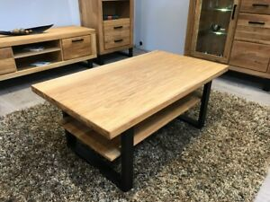 Couchtisch Wildeiche Tisch Massiv geölt 115x65cm Metallgestell in schwarz