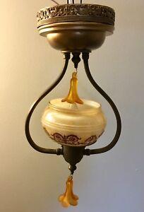 """16"""" Wired Light Fixture Brass Custard Slip Shade  Art Deco 20A"""
