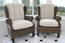 Set of 2 Amalfi Rattan Wing Arm Chairs- With Thick Cream Colour Cushions-REDUCED