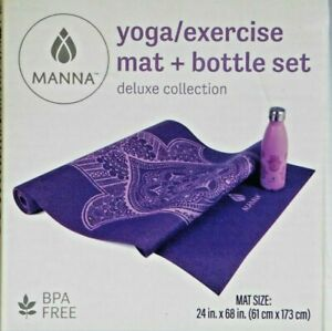 Manna Yoga Exercise Mat 17 oz Bottle Stainless Steel Set Deluxe Purple BPA free
