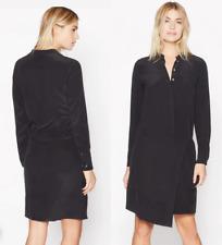 Equipment Winton wrap-effect washed-silk shirt dress in True Black sz Xs $348