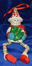 Articulated Legs Clay or Resin Snowman Christmas Ornament