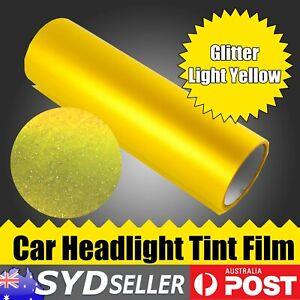 125cm x 30cm Glitter Yellow Car SUV Headlight Vinyl Tinted Film Rear Fog Lamps