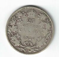 CANADA 1920 TWENTY FIVE CENTS QUARTER KING GEORGE V .800 SILVER CANADIAN COIN