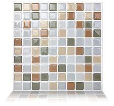 Tic Tac Tiles®-Premium 3D Peel & Stick Wall Tile in Mosaic Beigegrey (10 sheets)