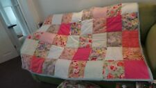 "handmade patchwork quilted throw, beautiful floral 100% cotton fabric 64"" x 47"""