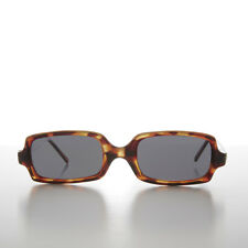90s Narrow Rectangular Punk Vintage Sunglass Speckled Brown Tortoise - Bass