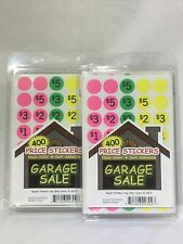 Garage Or Rummage Sale Sticker 400 Ea Lot Of 2priced Unpriced Neon Color Label