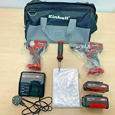 Einhell 18V Brushless Combi Drill Impact Driver Kit Power X Change EINPXTWINBL