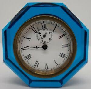 1886 E.N. WELCH Jewel Cobalt Blue Octagon Glass Time & Strike Paperweight Clock