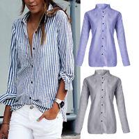 Women Striped Casual Tops Shirt Loose Ladies Blouse Clothes Plus Size T-Shirt #@