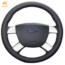 Black Leather Steering Wheel Cover for Ford Kuga 2008-2011 Focus 2 2005-2011