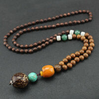 Multi Necklace Vintage Beaded Wood Pendants Bohemian Pattern Handmade Ethnic