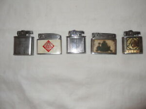 """Lot of 5 restored to working condition """"automatic"""" cigarette lighters lot # 6"""