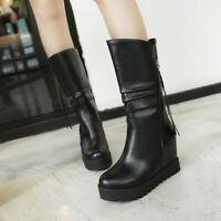 Punk Women Lady Hidden Wedge Heel Mid Calf Boots Platform Round Toe Casual Shoes