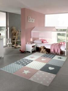 Kinderteppich Spielteppich Babyteppich Mädchen mit Herz Stern rosa creme grau