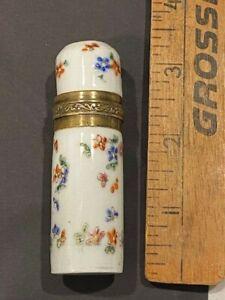 c1860s Samson French enameled perfume bottle vial brass porcelain glass stopper