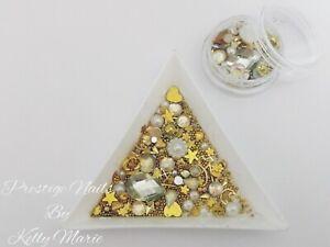 2ml Sparkle Pot Gold Mixed Nail Art Decorations Pearls Rivet Roses Christmas