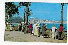 Vintage Postcard St. Lawrence River Seaway Power Project Viewing Construction