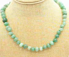 "Irregular 8x10mm natural emerald Gemstone necklace 18 ""AAA"