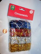 12 CHRISTMAS TREE ORNAMENT HOLIDAY DECOR BLUE RED GOLD SILVER GIFT PACKAGE 1 1/4