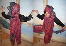 DRACHE DINO KOSTÜM HANDARBEIT USA 116-122 UNIKAT Rot schwarz Drachenkostüm