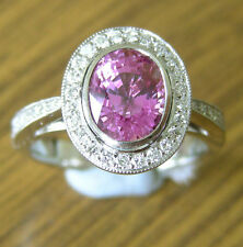 PINK CEYLON 1.53ct! NATURAL SAPPHIRE +0.37ct DIAMONDS +18ct W GOLD HANDMADE RING