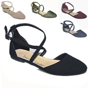 New Women Fashion Ankle Strap Casual Criss Cross Ballet Flats Shoes