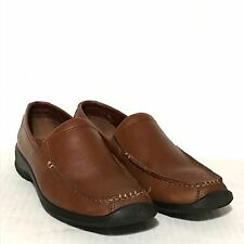 Ecco Brown Leather Slip On Comfort Casual Dress Work Walking Loafers Sz 38 7 7.5