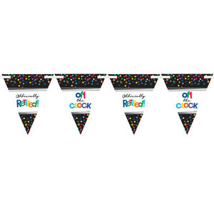 Happy Retirement Party Bunting Banner Supplies Flag Banner