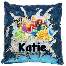 Personalised Disney Princess's Reveal Sequin Cushion Cover - Boys/Girls