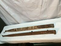 "Antique Hand Forged Pair Iron Barn Door Strap Hinges 34"" Long x 2. in Pair"
