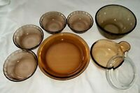 8 PC Lot Corning Ware Visions Amber Pyrex Bowls Mixing Pie Pan Oven Stove
