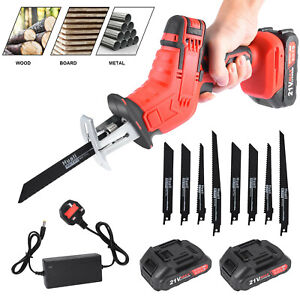 21V Cordless Hand Held Reciprocating Saw & 2 Battery 8 Blades Wood Metal Cutting