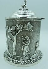 More details for elkington style silver plated victorian tea caddy or biscuit box