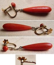 UNE SEULE  boucle d'oreille pendentif en or massif et corail rouge  bijou ancien