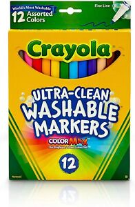 *1-Pack* Crayola Fine Line Markers 12 Assorted Colors Ultra Clean Washab 58-7813