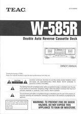 Manuale d'uso in lingua inglese per registratore a cassette Teac W-585R