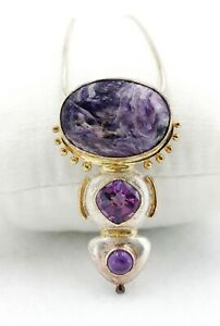 """Sterling Silver & Gold Over Amethyst 2"""" Pendant Necklace Brooch Pin 18"""" Chain"""