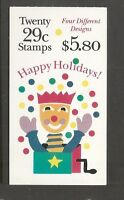 US SC # BK212 Happy Holidays 1993. Plate # 222222 Complete Booklet.  MNH
