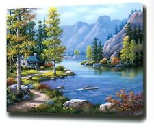 MOUNTAIN LAKE SCENE PAINTING PAINT BY NUMBERS CANVAS KIT 20 x 16 ins FRAMELESS