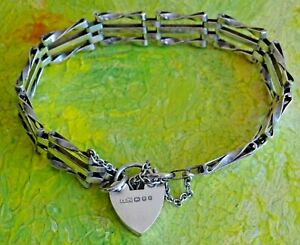 Fabulous vintage solid sterling silver gate bracelet with padlock & chain. 1978