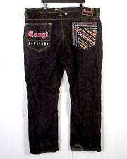 euc Coogi Men's Black Colorful Embroidered Denim Jeans Rap Hip Hop Baggy 48 X 35