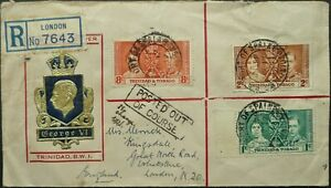TRINIDAD & TOBAGO 12 MAY 1937 KGVI CORONATION FIRST DAY COVER SENT TO ENGLAND