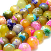 5 Strds Natural Agate Stone Beads Faceted Tiny Loose Gems Dyed Cyan Round 10mm