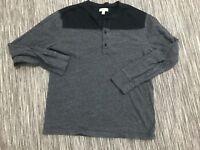 J Crew Slim Flagstone Colorblock Henley Shirt Men's Large Long Sleeve Cotton