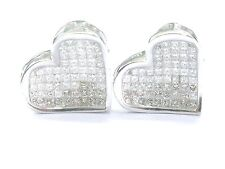 Fine Princess Cut Invisible Set Diamond Heart Shape White Gold Earrings 2.00Ct