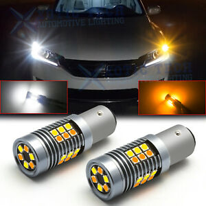 For Honda Accord 1998-2015 1157 White Amber Switchback LED Turn Signal Light 2pc