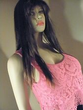 SELF ESTEEM WOMENS PINK LACE TRIM CROP TOP SIZE SMALL
